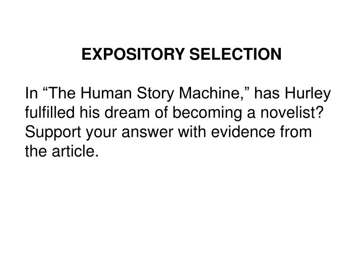 EXPOSITORY SELECTION
