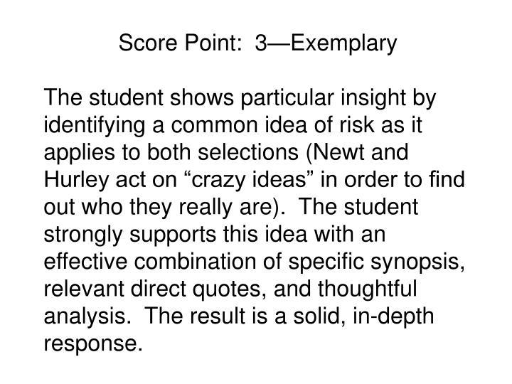 Score Point:  3—Exemplary