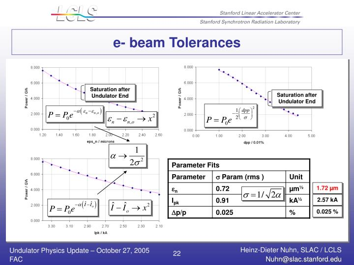 e- beam Tolerances