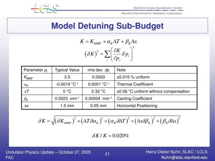 Model Detuning Sub-Budget