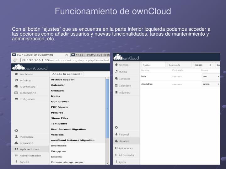 Funcionamiento de ownCloud