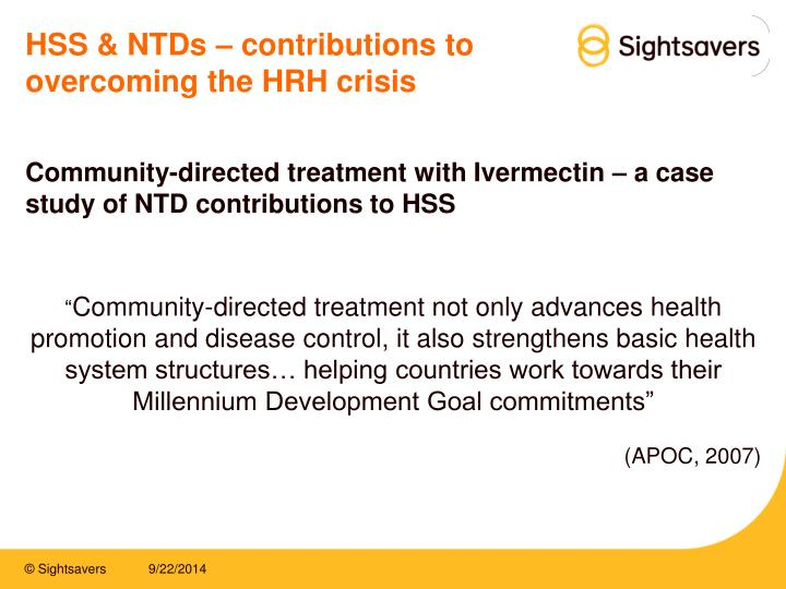 HSS & NTDs – contributions to overcoming the HRH crisis