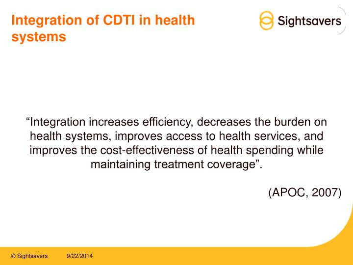 Integration of CDTI in health systems