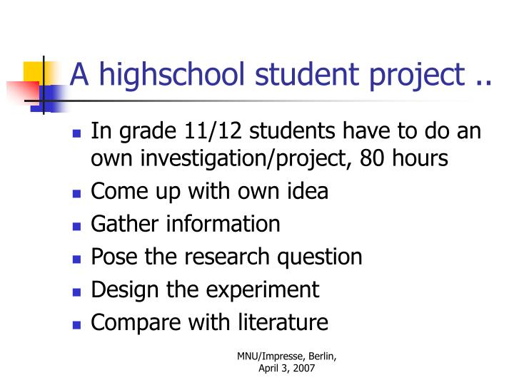 A highschool student project ..