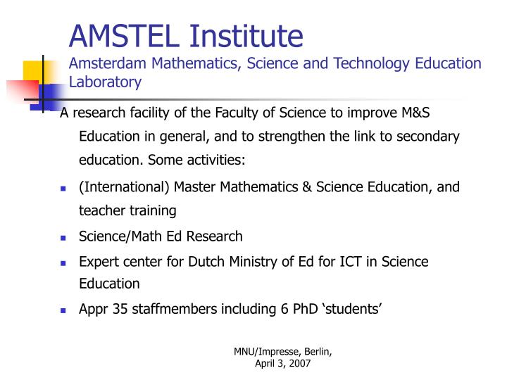 Amstel institute amsterdam mathematics science and technology education laboratory