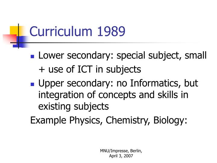 Curriculum 1989