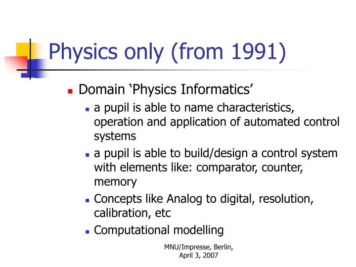 Physics only (from 1991)