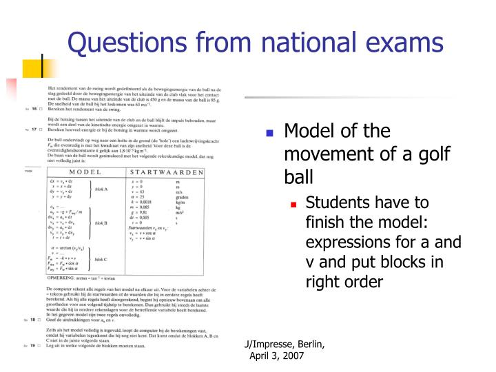 Questions from national exams