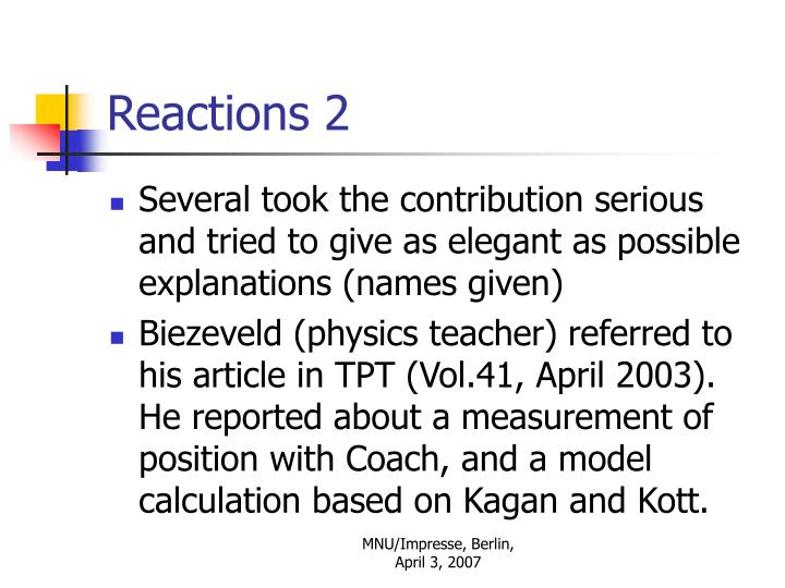 Reactions 2