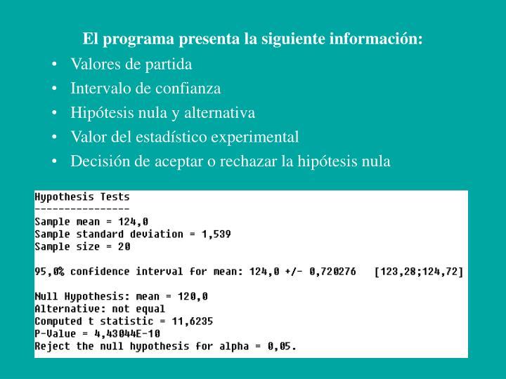 El programa presenta la siguiente información: