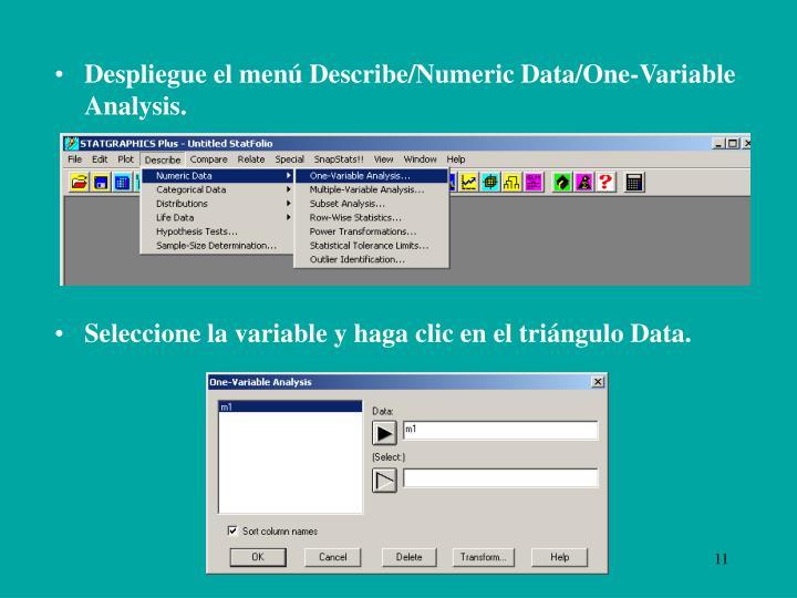 Despliegue el menú Describe/Numeric Data/One-Variable Analysis.