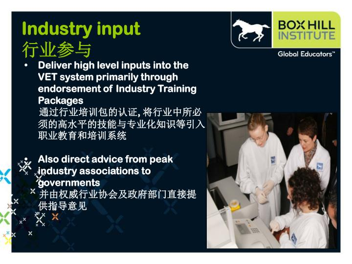 Deliver high level inputs into the VET system primarily through endorsement of Industry Training Packages