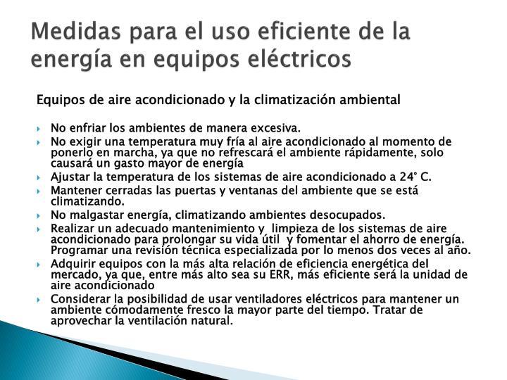Medidas para el uso eficiente de la energía en equipos eléctricos