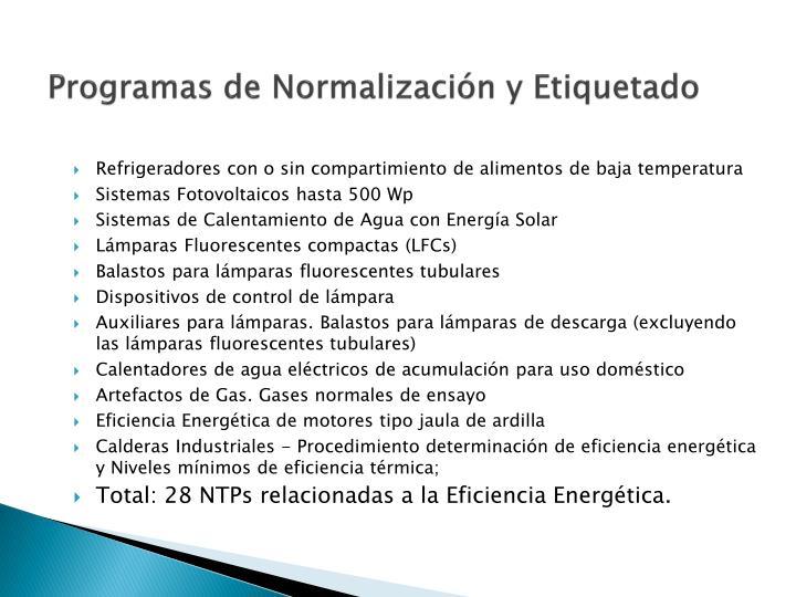 Programas de Normalización y Etiquetado