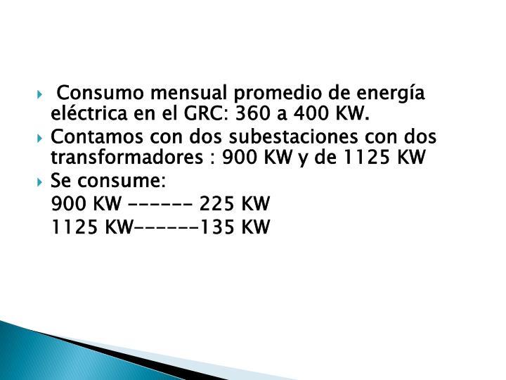 Consumo mensual promedio de energía eléctrica en el GRC: 360 a 400 KW.