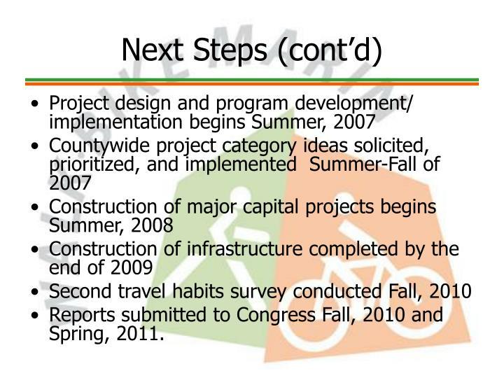 Next Steps (cont'd)
