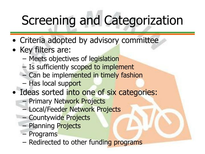 Screening and Categorization