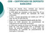 cdb certificado de dep sito banc rio