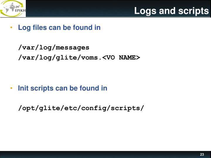 Logs and scripts