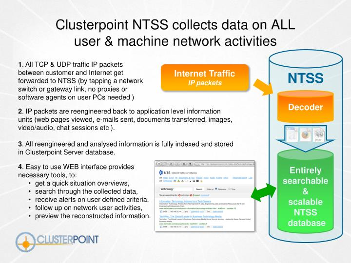 Clusterpoint NTSS collects data on ALL
