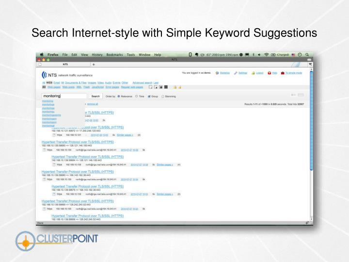 Search Internet-style with Simple Keyword Suggestions