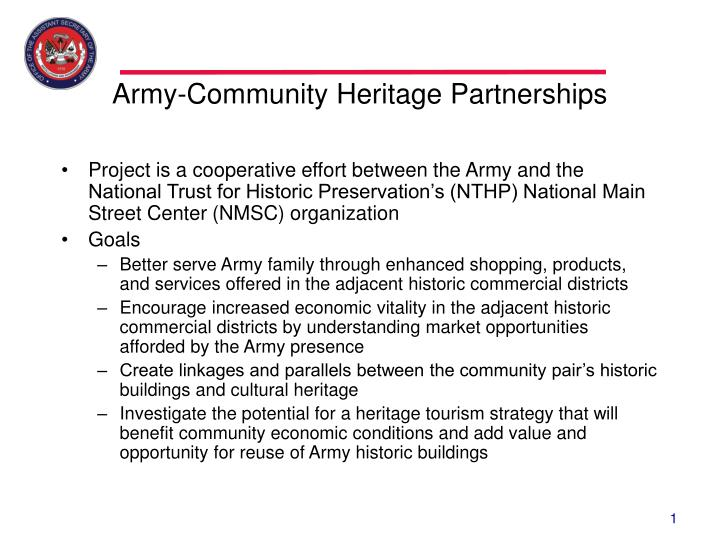 Army community heritage partnerships