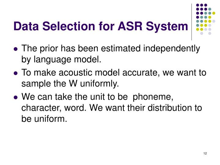 Data Selection for ASR System