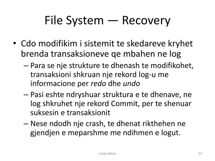 File System — Recovery