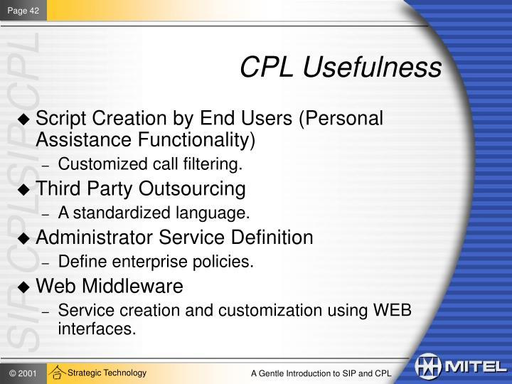 CPL Usefulness