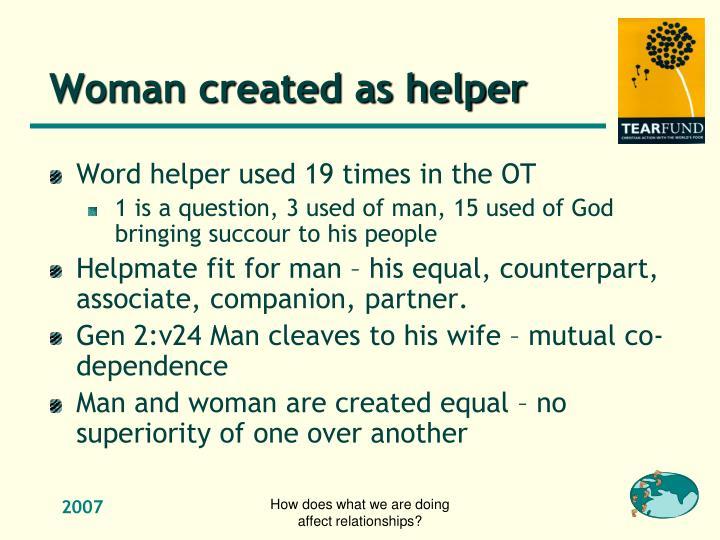 Woman created as helper
