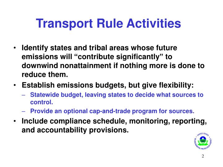 Transport Rule Activities