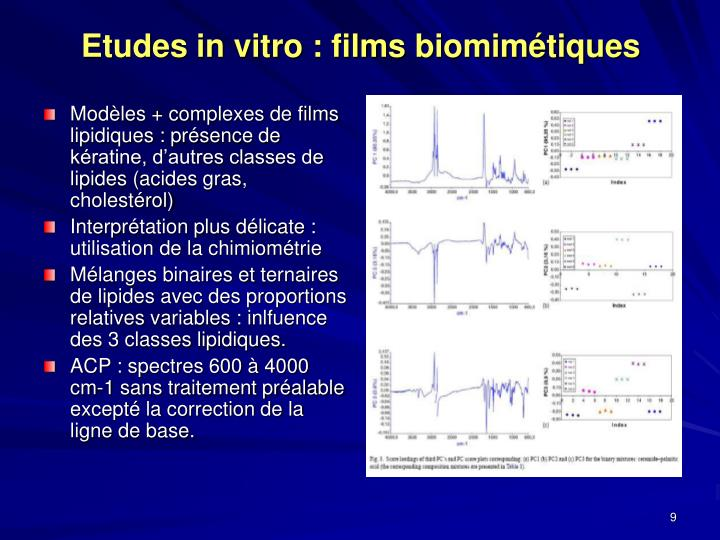 Etudes in vitro : films biomimétiques