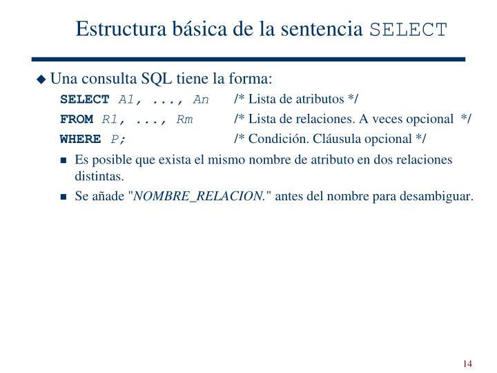 Estructura básica de la sentencia