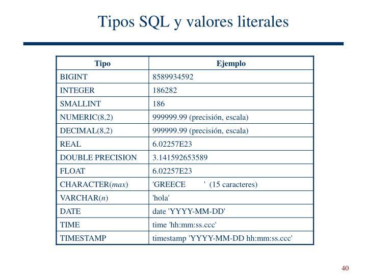 Tipos SQL y valores literales