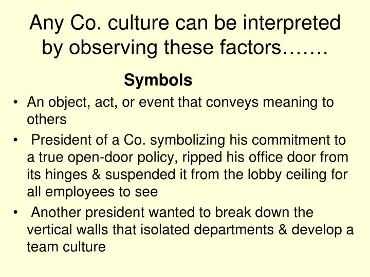 Any Co. culture can be interpreted by observing these factors…….