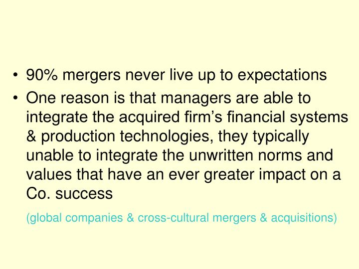 90% mergers never live up to expectations