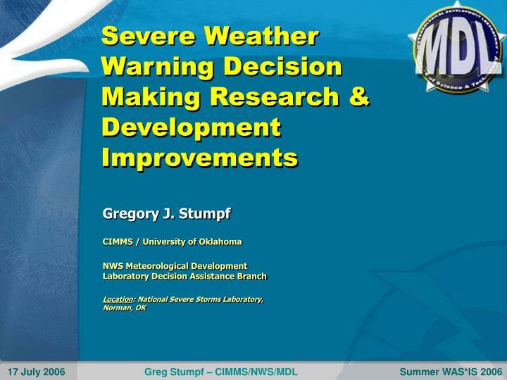 severe weather warning decision making research development improvements n.