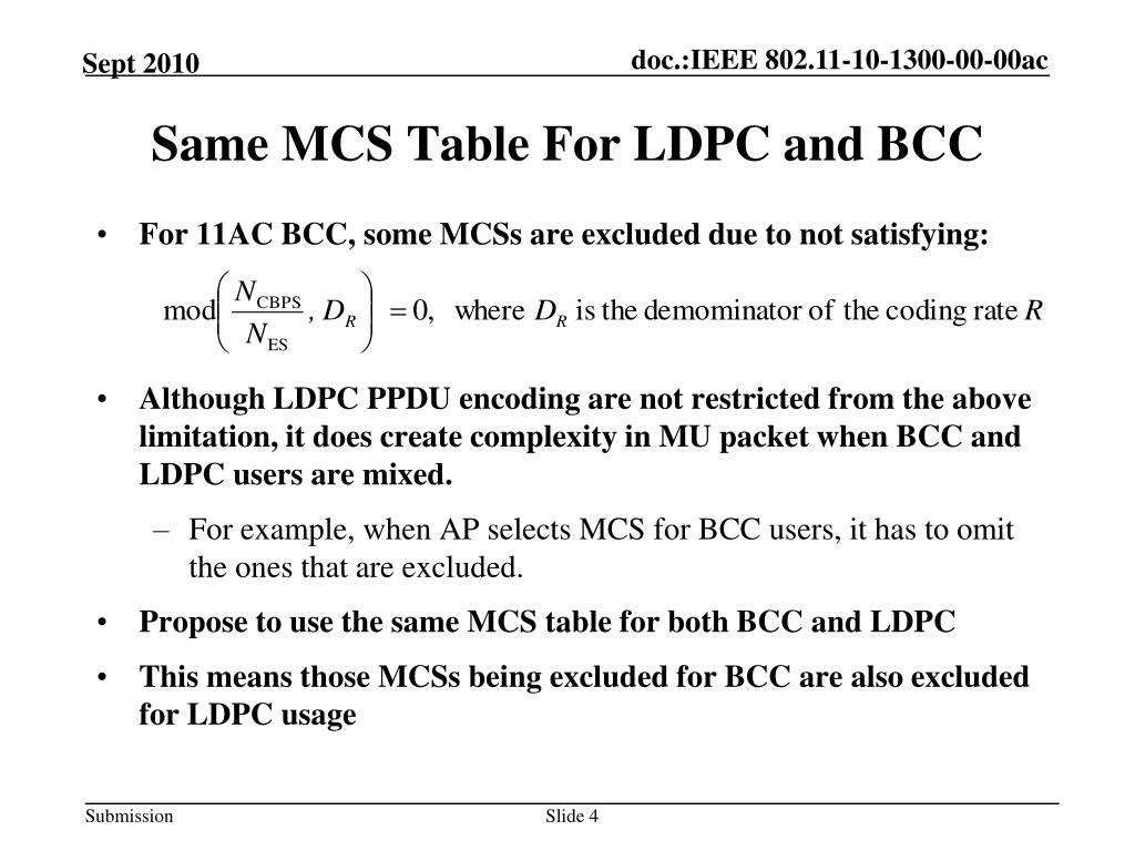 PPT - LDPC for 11AC PowerPoint Presentation - ID:4683718