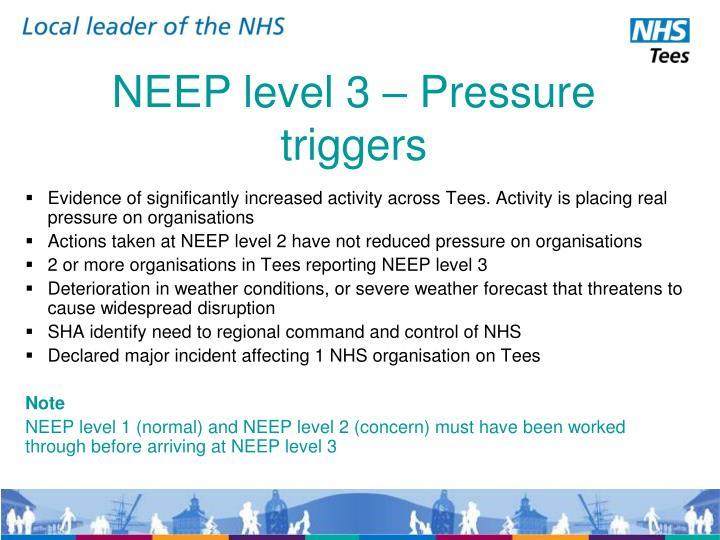 NEEP level 3 – Pressure