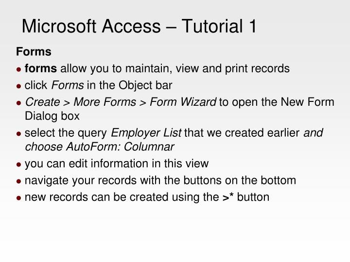 Microsoft Access – Tutorial 1