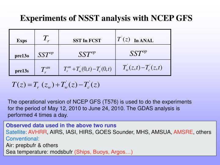 Experiments of NSST analysis with NCEP GFS