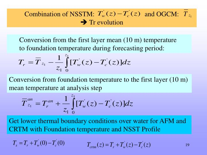 Combination of NSSTM:                             and OGCM: