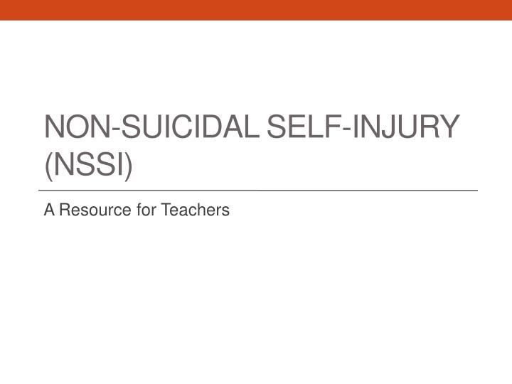 non suicidal self injury nssi n.