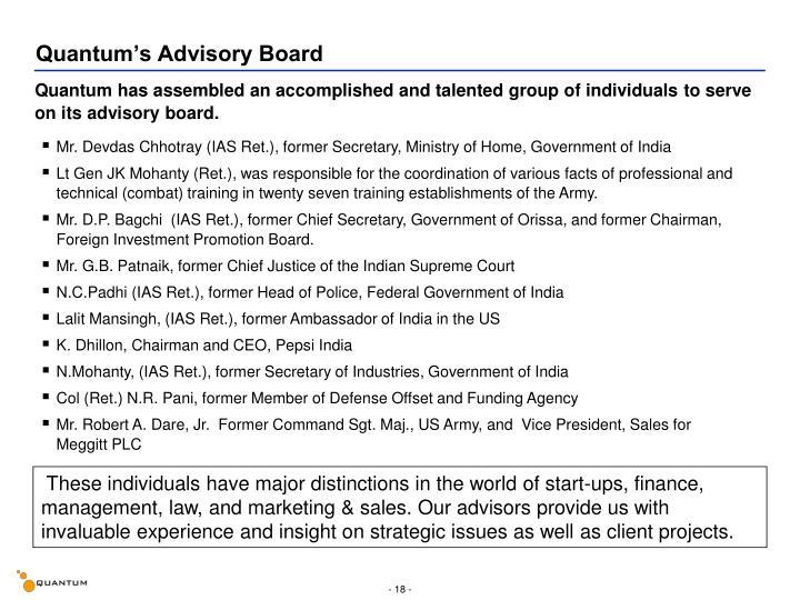 Quantum's Advisory Board