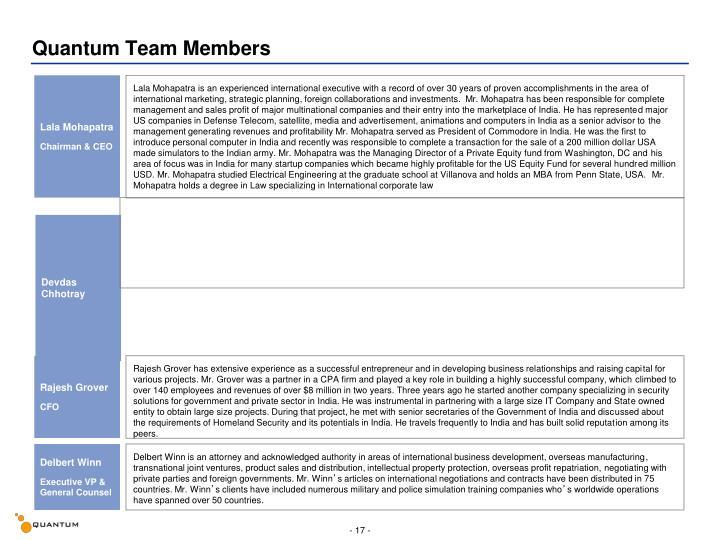 Quantum Team Members