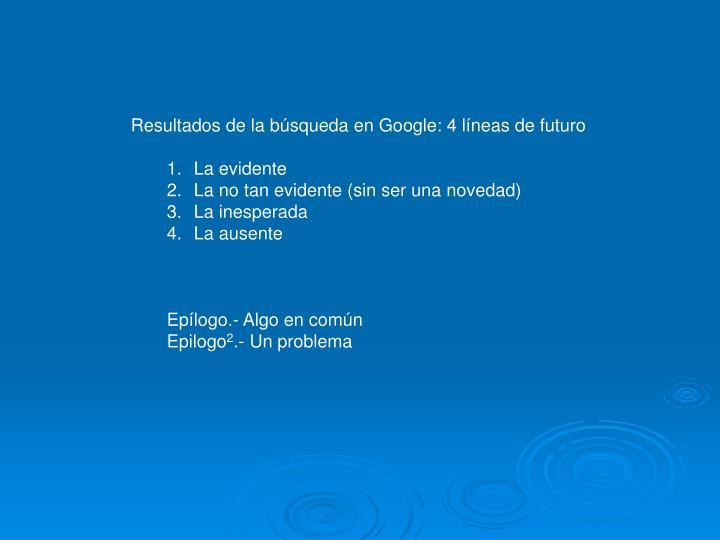 Resultados de la búsqueda en Google: 4 líneas de futuro
