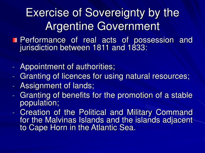 Exercise of sovereignty by the argentine government