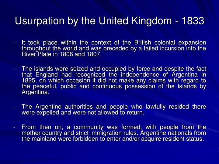 Usurpation by the United Kingdom - 1833