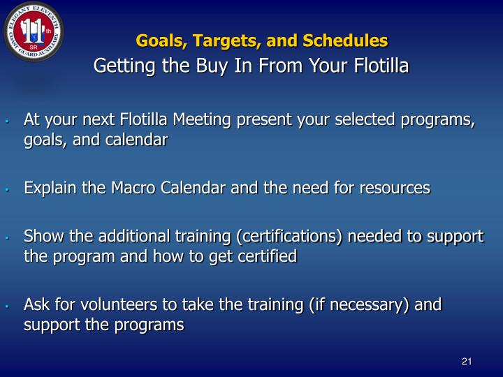 Goals, Targets, and Schedules