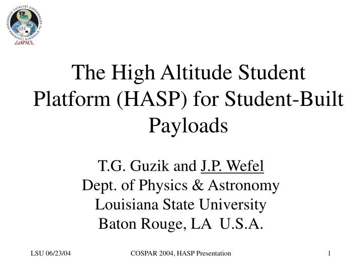 the high altitude student platform hasp for student built payloads n.